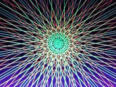 蛍光糸張りオーロラ十八花冠プロセス