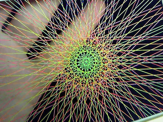 蛍光糸張りオーロラ十八花冠