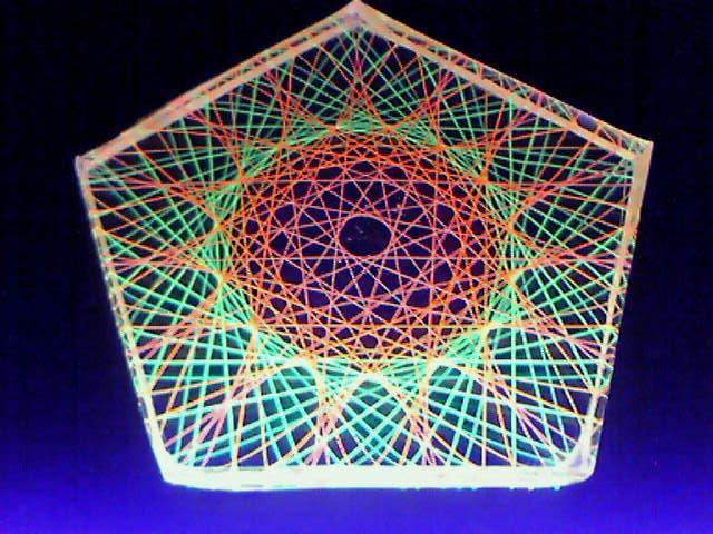 蛍光糸張りクリスタルレジン十五角のオーロラ珠
