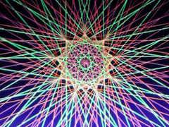 蛍光糸張り九角形のオーロラ観覧車プロセス