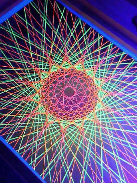 蛍光糸張り十五角のオーロラ珠